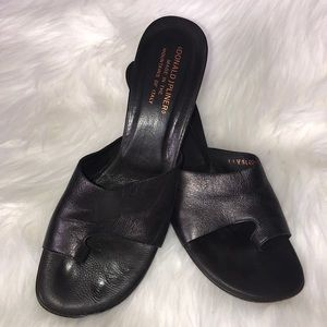 Donald J Pliner Espresso leather slides size 10 N